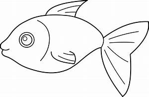Happy Fish Coloring Page - Free Clip Art