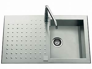 evier en inox satine 1 bac 1 egouttoir opus vente de With salle de bain design avec evier en inox