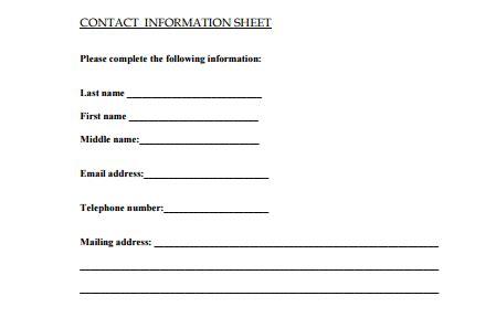 contact info templates  sample templates