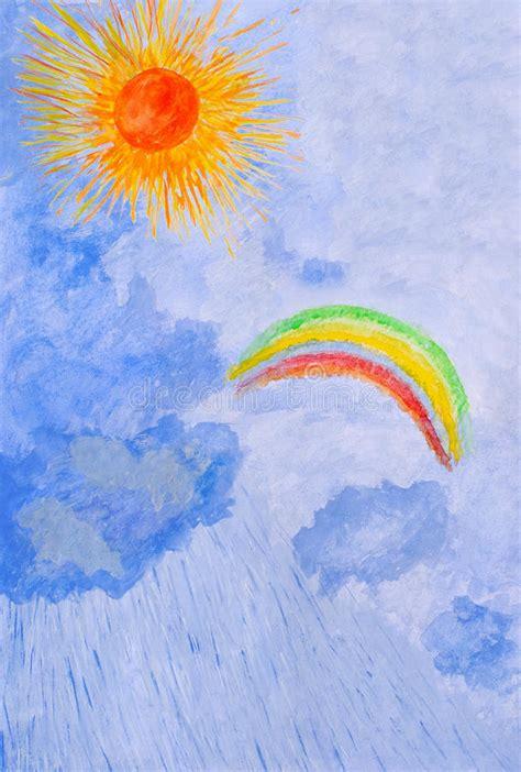 water color drawing  hand sun rain rainbow stock