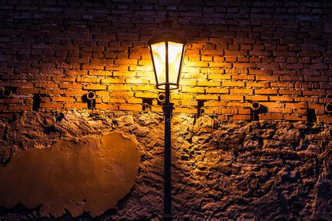 Vintage Street Lamp Against A Brick Wall At Night Stock Small Luxury Home Plans With Photos Cute Design Dimensions Vacation Share Homes Better Interiors Mobile Lifestyle Orlando Rentals Texas
