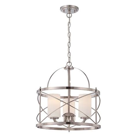 brushed nickel drum chandelier nuvo lighting brushed nickel three light drum
