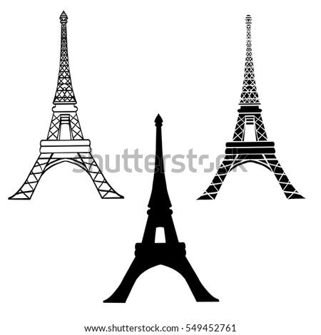 eiffel tower isolated  white computer stock illustration