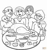 Coloring Dinner Thanksgiving Printable Colouring Supercoloring sketch template