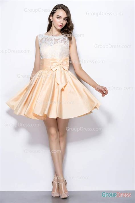 Pretty Two Tone Illusion White Bateau Neck Embriodered Peach Taffeta Prom Dress with Bowknot