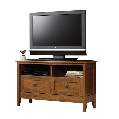 oak tv stands shop sauder august hill oiled oak tv stand at lowes com