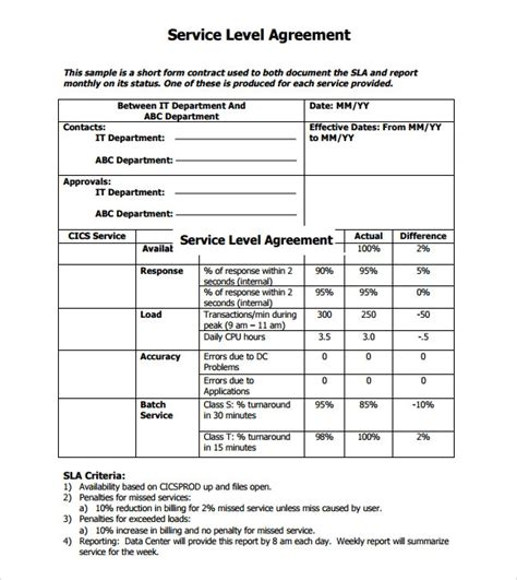 service level agreement template peerpex