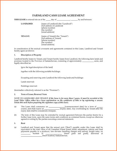 agricultural land lease agreement sample purchase