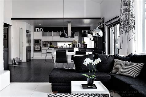 Blue Kitchen Decor Ideas - elegant black and white interior design with comfortable
