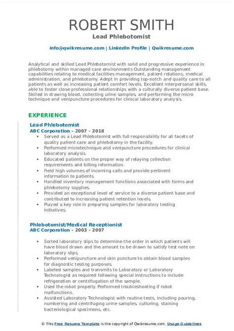 Healthcare Resume Exles Phlebotomist by Phlebotomist Resume Sles Qwikresume