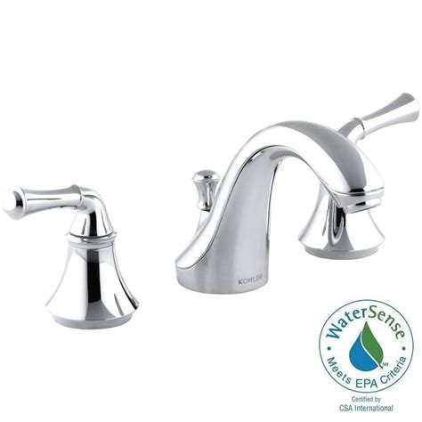 kohler forte   widespread  handle  arc water saving bathroom faucet  polished chrome