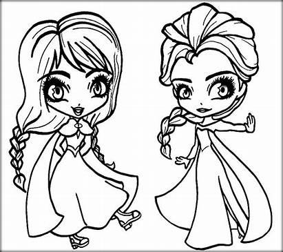 Elsa Anna Dibujos Chibi Colorear Frozen Coloring