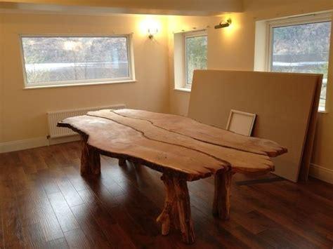 hand  bespoke solid waney edge rustic oak kitchen