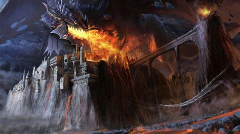 wallpaper dragon black fire castle bridge lava smoke