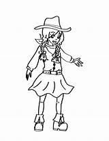 Coloring Cowgirl Kidsplaycolor sketch template