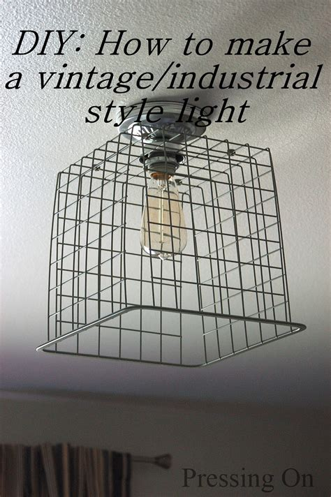 pressing on diy vintage industrial style ceiling light