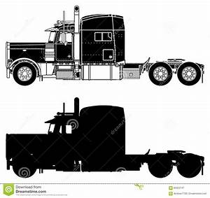 Silhouette Of A Truck Peterbilt 379X. Stock Image - Image ...