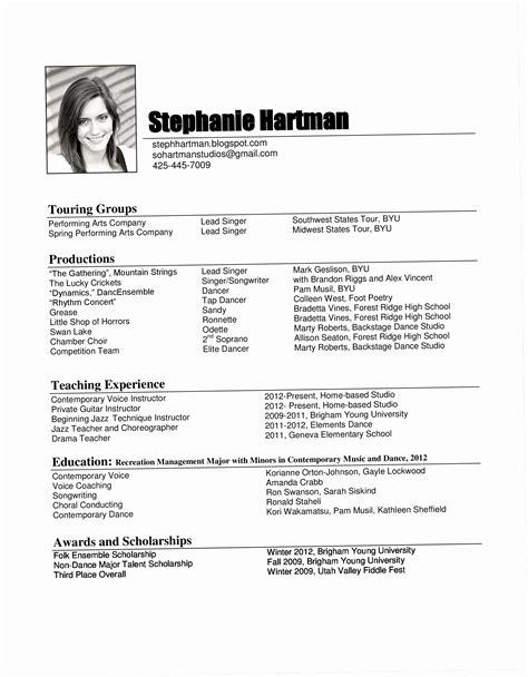 Opera Singer Resume by 8 Singer Resume Template Ideas Resume Template