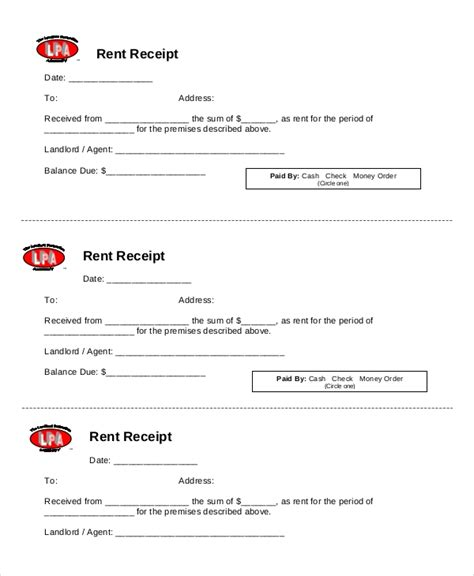 rent receipt template 20 free word pdf documents