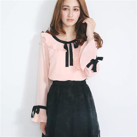 yoco womens blouse with pleated collar and bow korean fashion
