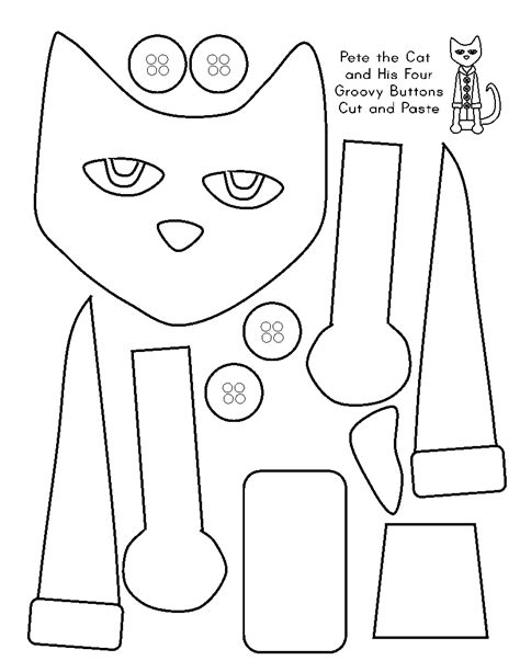 preschool cut outs cut and paste for pete the cat and his four groovy buttons 505