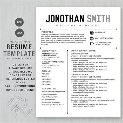 Different Cv Templates by Resume Template Cv Template For Word Diy Printable By
