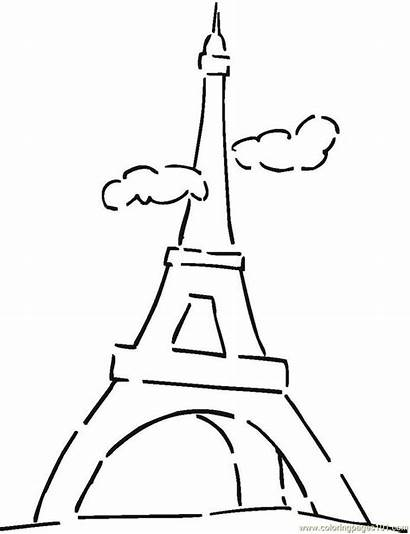Coloring Tower Pages Eiffel France Flag French