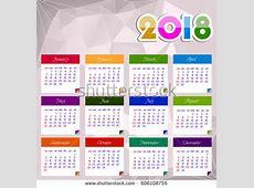 Calendar 2018 Happy New Year Vector Stock Vector 606108755