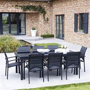 Salon De Jardin 12 Personnes : salon de jardin modulo 8 12 personnes noir wilsa outdoor ~ Dailycaller-alerts.com Idées de Décoration