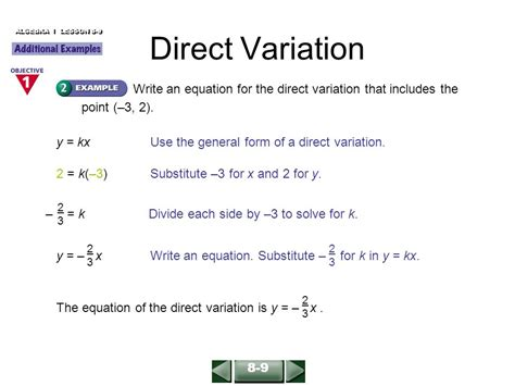 Direct Variation Algebra 2 Formula