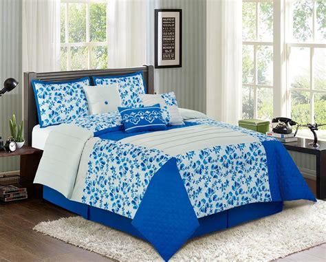 7 piece patchwork floral blue ivory comforter set