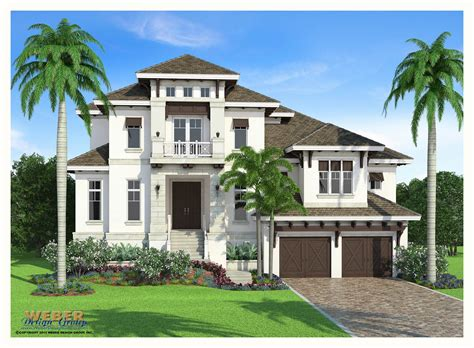 Waterfront Mediterranean House Plans Two Story Weber West
