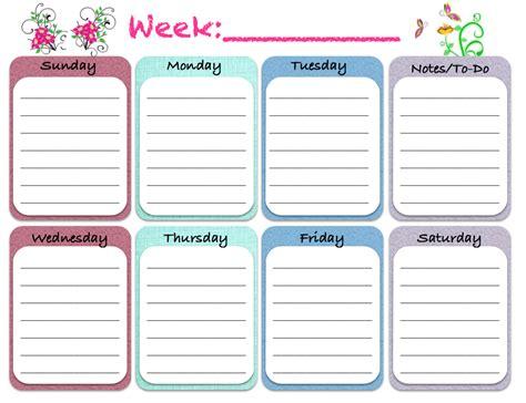 free weekly schedule free printable weekly planners 5 designs
