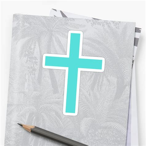 aqua blue cross sticker decal stickers by mhea redbubble
