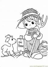 Goat Farmer Boy Farm Coloring Pages Printable sketch template