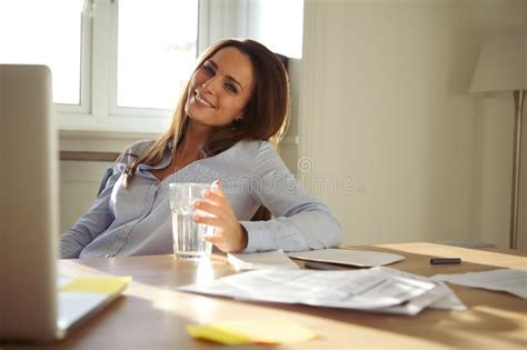 11355 office desk photography working in home office smiling at stock