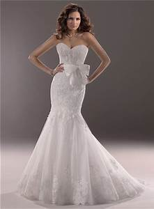 fit and flare mermaid sweetheart lace wedding dress with With bow wedding dress