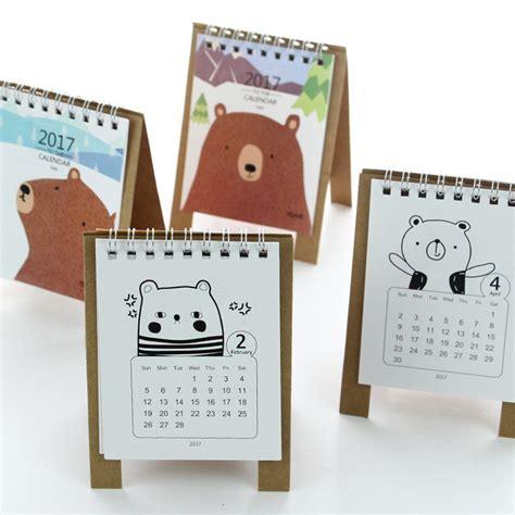 large desk calendar holder 2017 year kawaii cartoon bear calendar 12 5 9 5cm creative