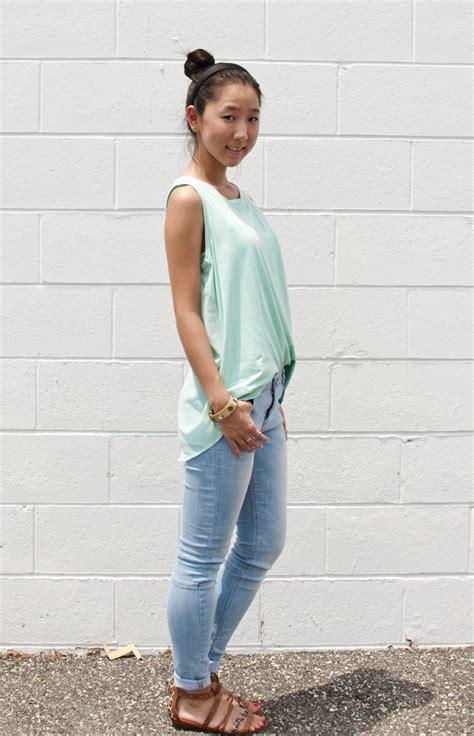 Sunday Pastel Sheer Top u0026 Light Wash Skinny Jeans   Tea for Shoe