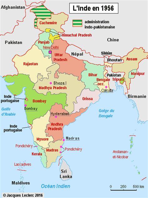 Carte Politique Du Monde Indien by L Inde Politique Carte 1956