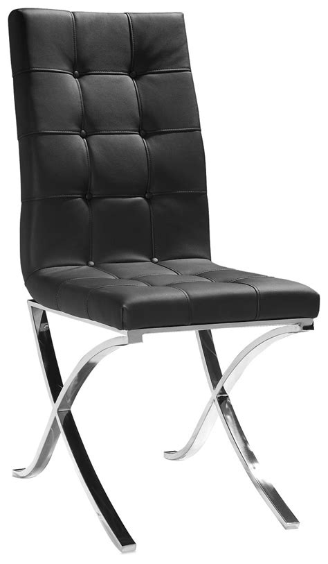 modern black leather tufted dining chair