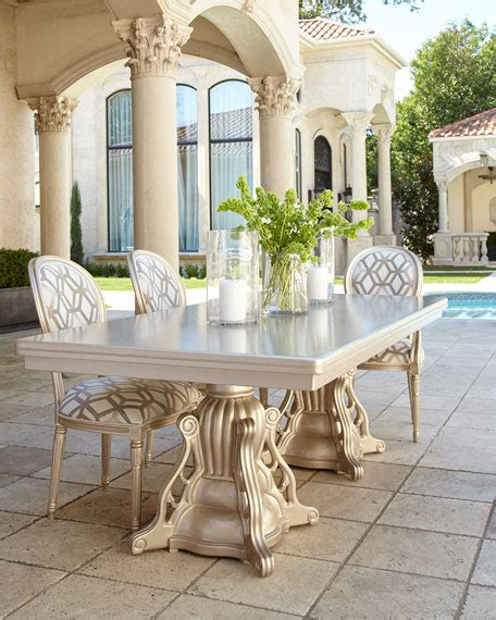 outdoor double pedestal dining table