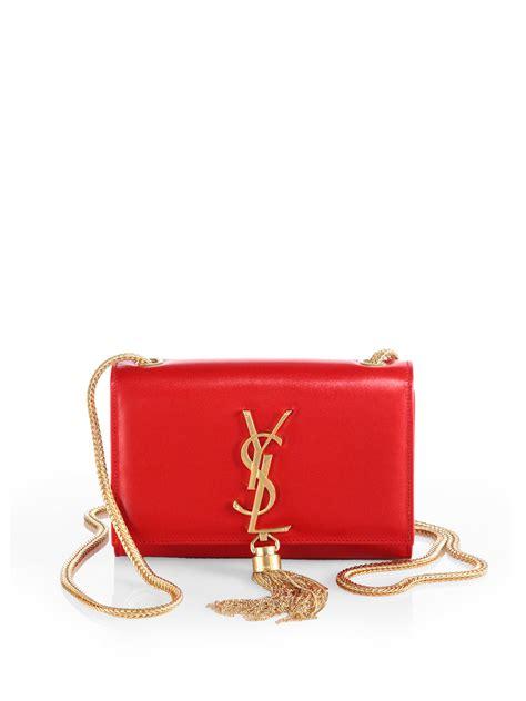 saint laurent cassandre tassel small shoulder bag  red lyst