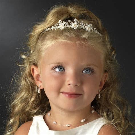 crystal ivory rum flowergirl tiara elegant bridal hair