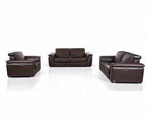 Contemporary brown leather sofa set w electric recliners for Leather sectional sofa with electric recliners