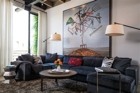 navy sectional sofa Living Room Contemporary with back