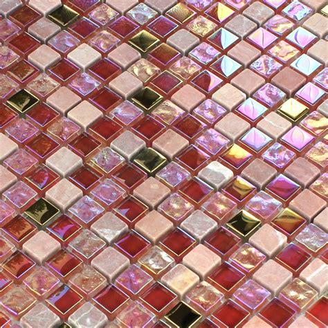 mosaik fliesen rot glas mosaikfliesen naturstein rot rosa gold tm33101m