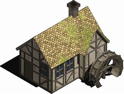 Watermill Medieval Icon Buildings Building Opengameart Bleed