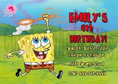 spongebob birthday card template personalized spongebob squarepants birthday invitation
