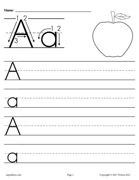 26 printable alphabet handwriting worksheets uppercase and lowercase supplyme